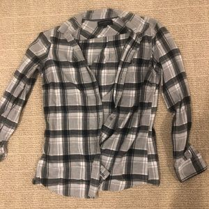 Grey, white, and black flannel